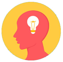 Lightbulb in brain icon