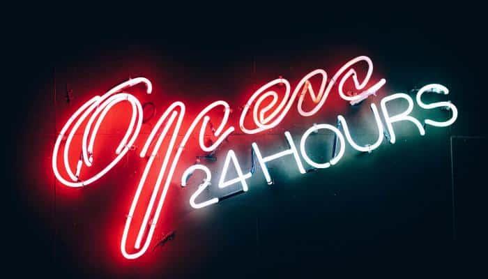 """Neon """"open 24 hours"""" sign"""