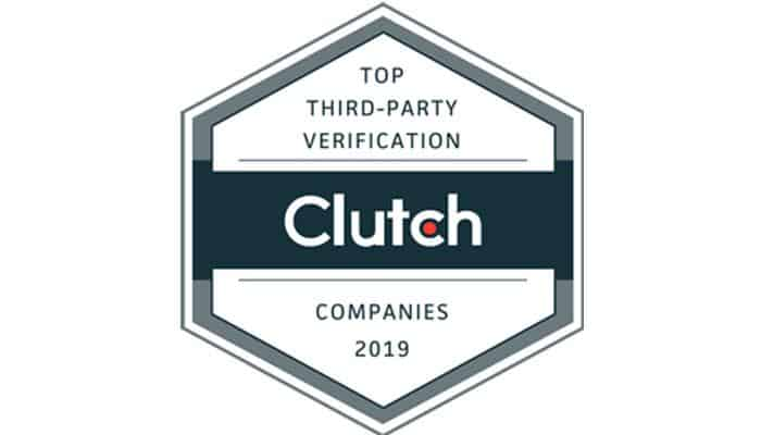 """Badge saying """"top third-party verification companies 2019 Clutch"""""""