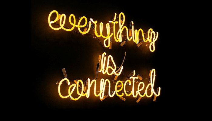 """Neon """"everything is connected"""" sign"""