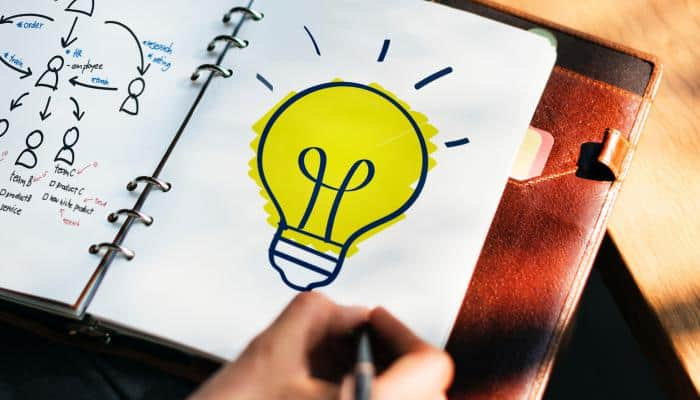 Light bulb drawn in a planner