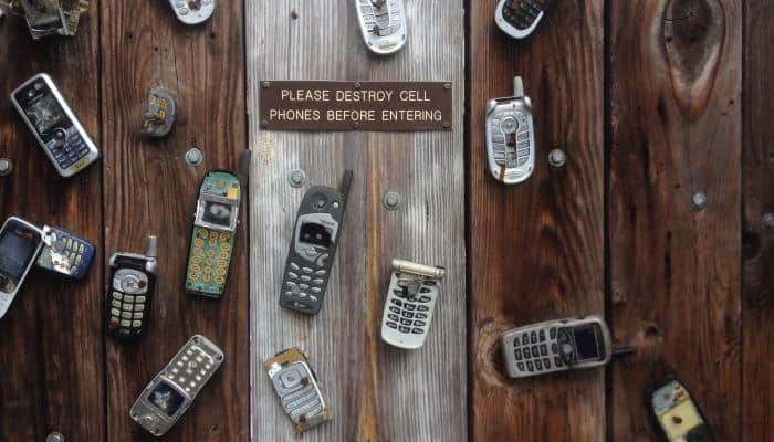 Cell phones on a table