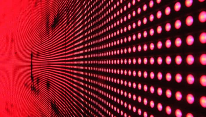 hundreds of red dotted lights
