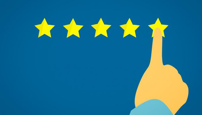 drawing of a finger selecting five star rating
