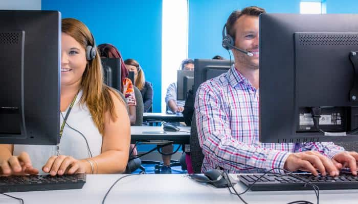 Call center agents in an office