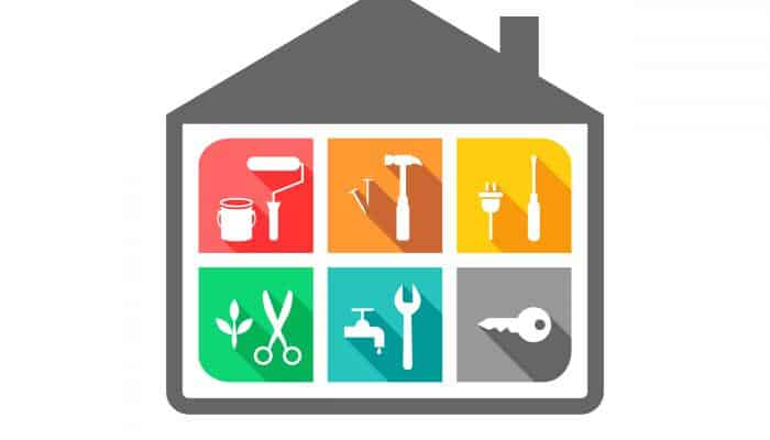 Drawing of house showing home improvement tasks like painting, gardening, etc