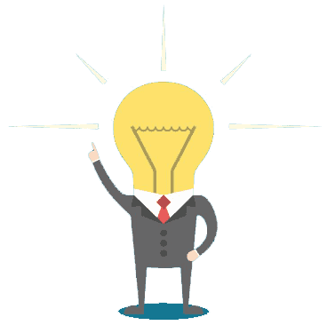 lightbulb dressed in a suit pointing up