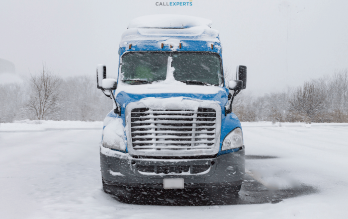 Truck in a snow covered landscape